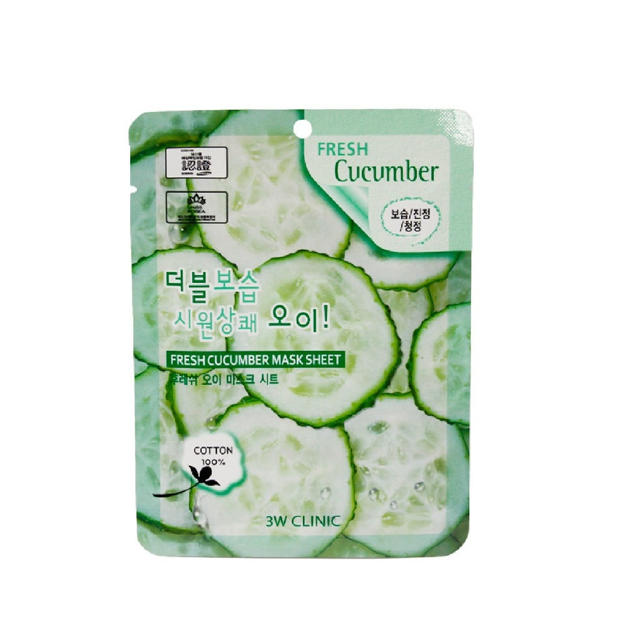 3W CLINIC Fresh Cucumber Mask Sheet, 23мл. Маска для лица тканевая c экстрактом огурца