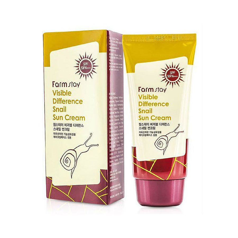 FARMSTAY Visible Difference Snail Sun Cream SPF 50 PA+++, 70гр. Солнцезащитный крем с муцином улитки