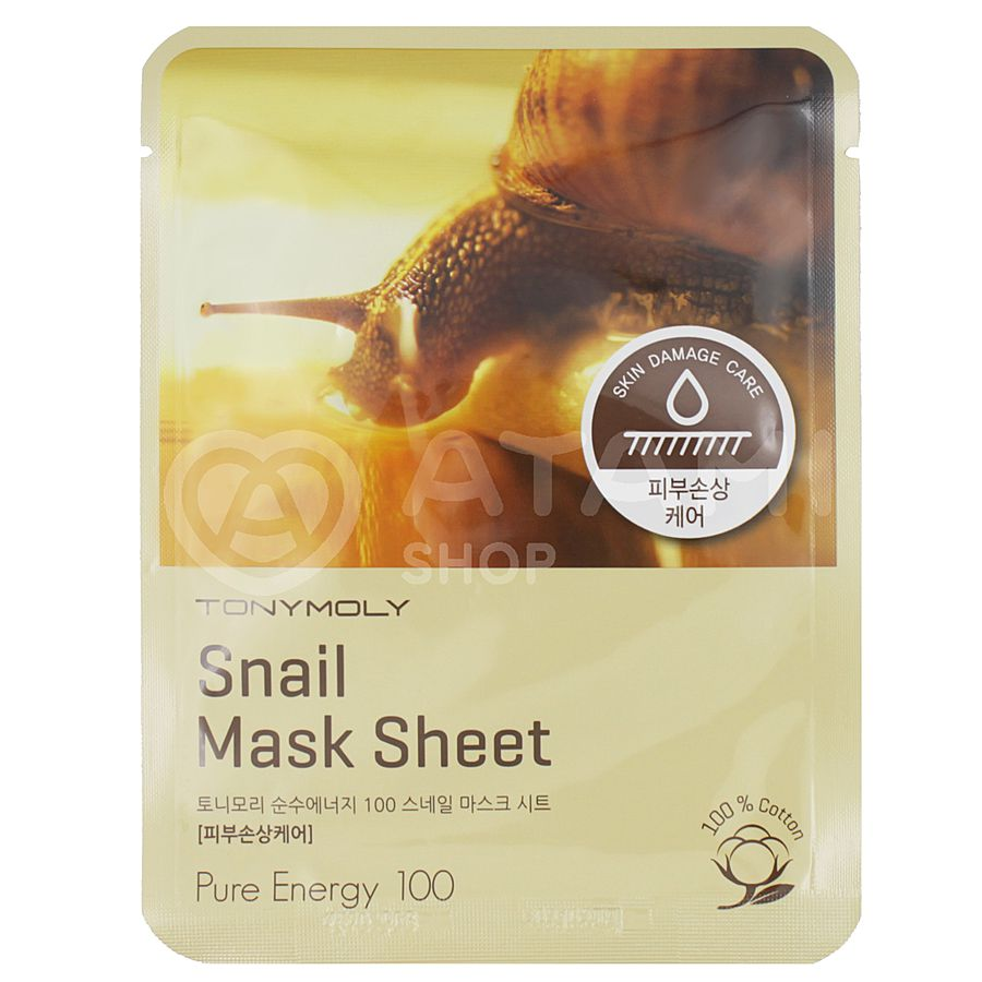 TONY MOLY Snail Mask Sheet Pure Energy 100 Маска для лица тканевая с муцином улитки