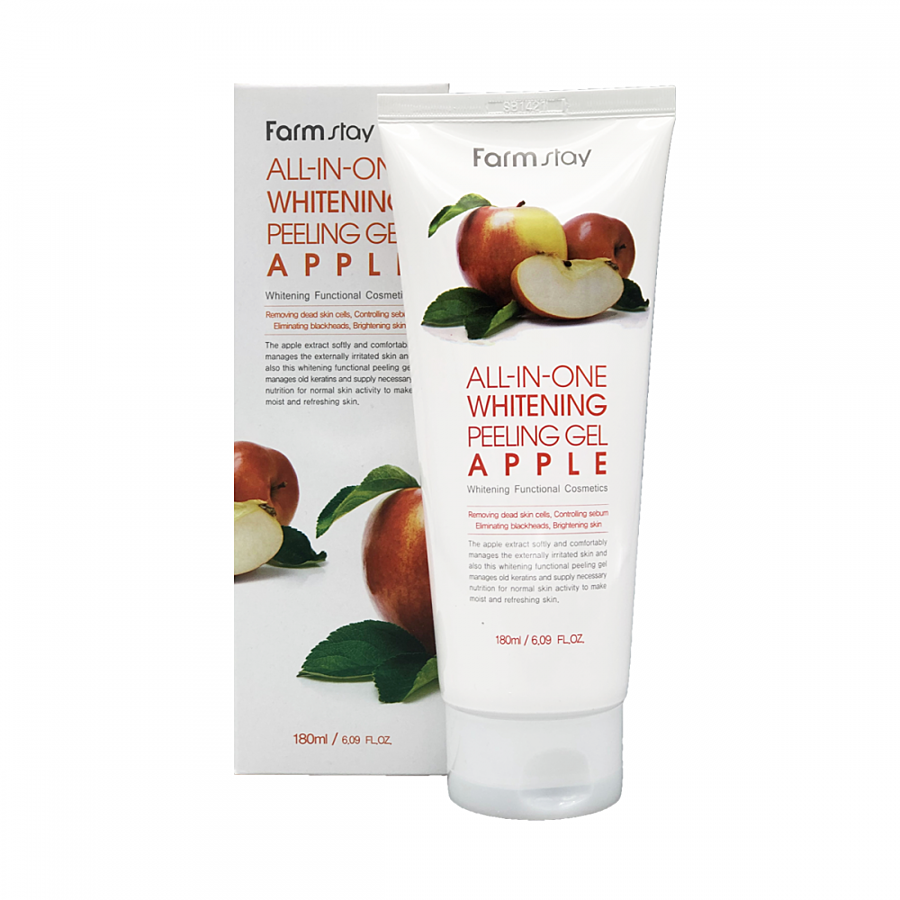 FARMSTAY All-In-One Whitening Apple Peeling Gel, 180мл. Пилинг-гель для лица с экстрактом яблока